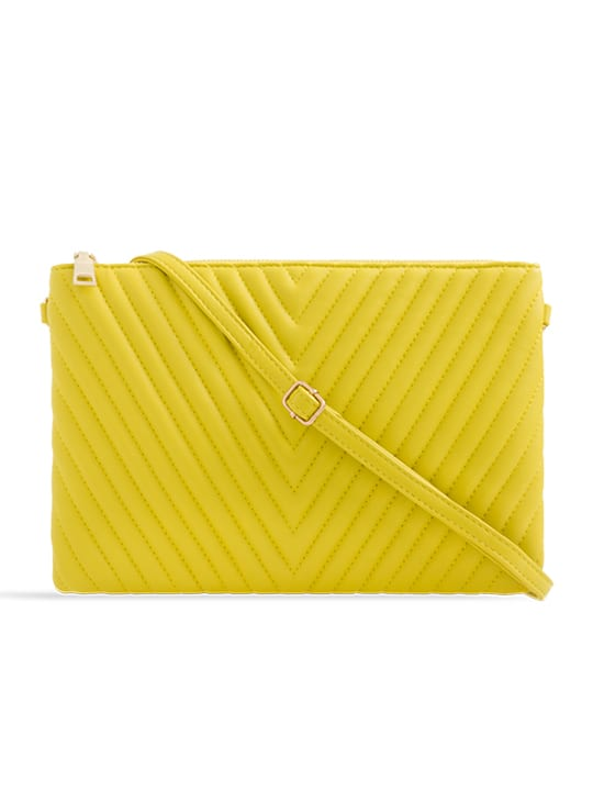 Yellow Quilted Zipper Clutch