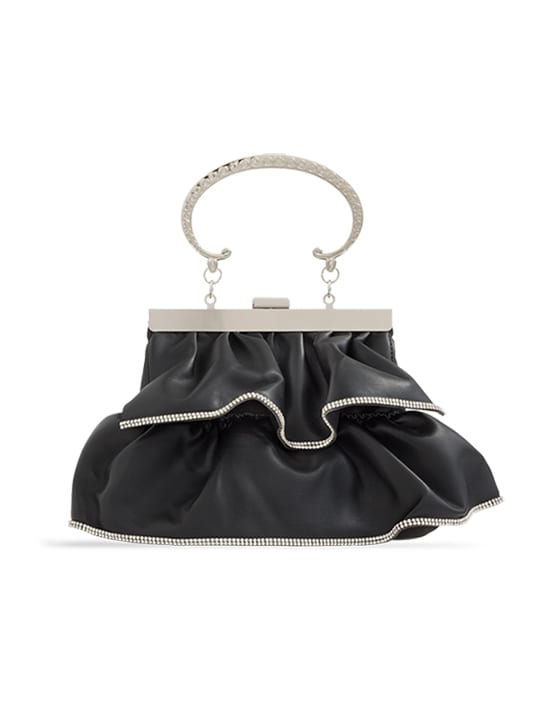 Black Faux Leather Ruffle Clutch Bag