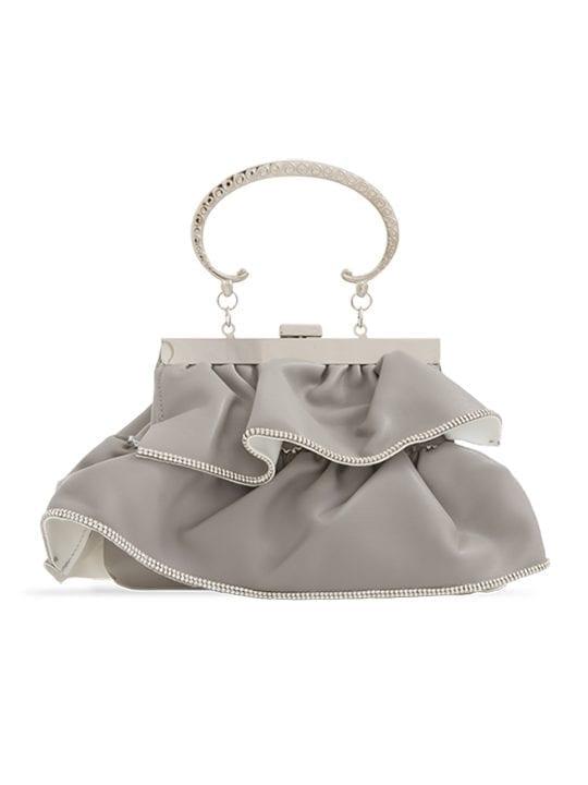 Grey Faux Leather Ruffle Clutch Bag