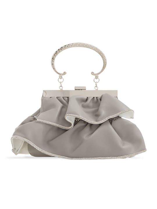 Grey Faux Leather Ruffle Clutch Bag