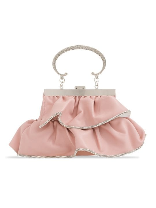 Pink Faux Leather Ruffle Clutch Bag