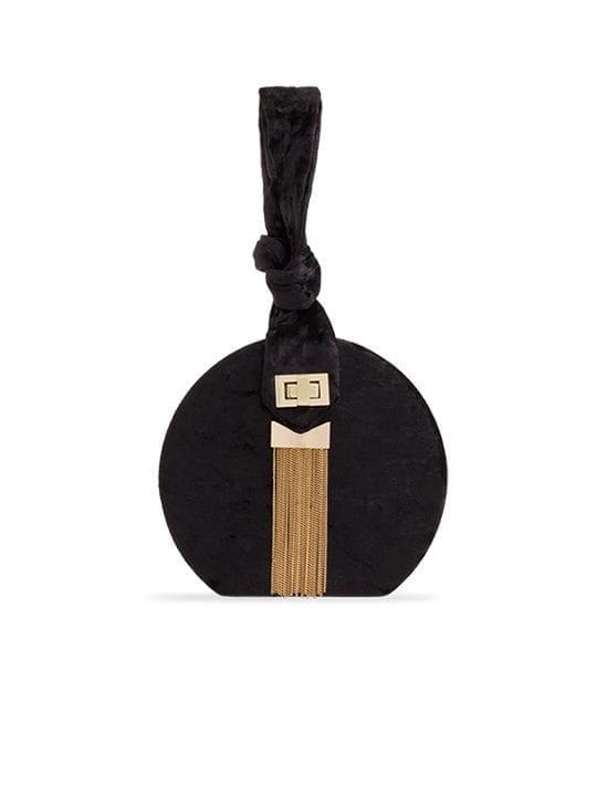 Black Crushed Velvet Round Handbag