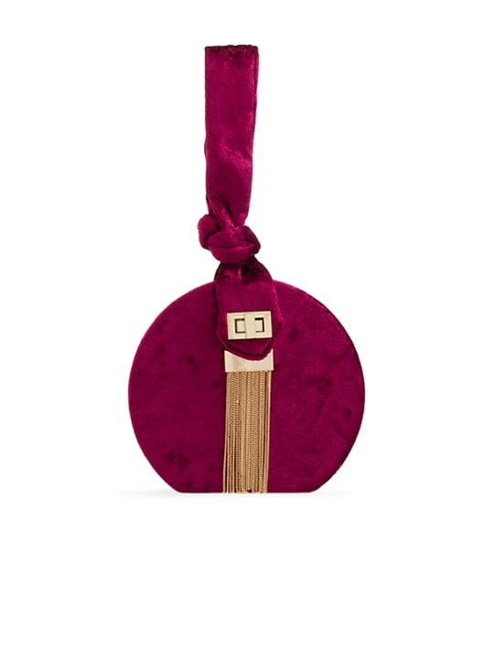 Burgundy Crushed Velvet Round Handbag