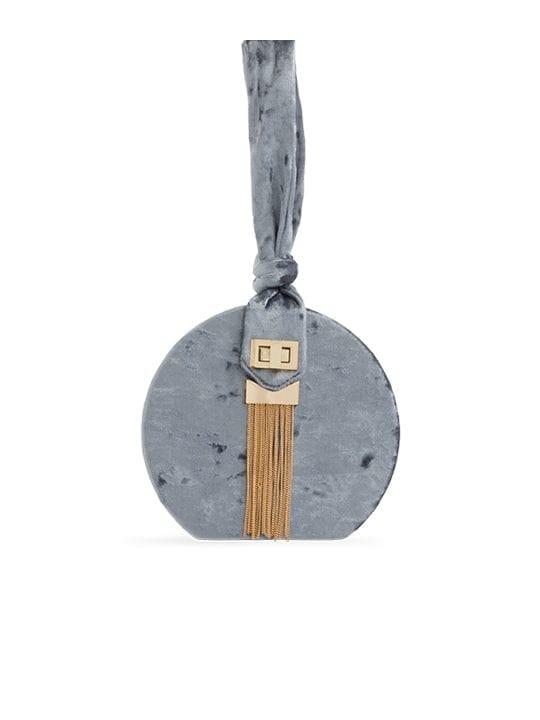 Grey Crushed Velvet Round Handbag