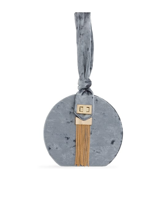 Grey Crushed Velvet Round Handbag
