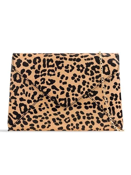 Shiny Leopard Print Clutch Bag