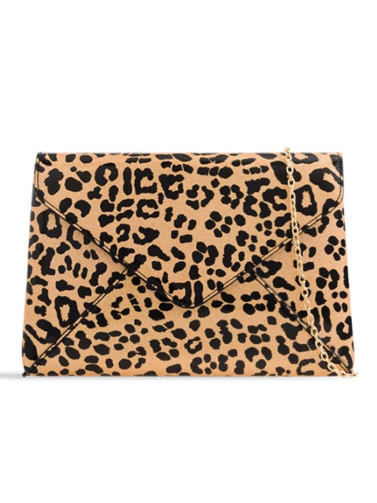Shiny Leopard Print Clutch Bag
