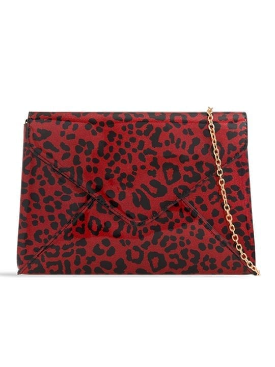 Red Shiny Leopard Print Clutch Bag
