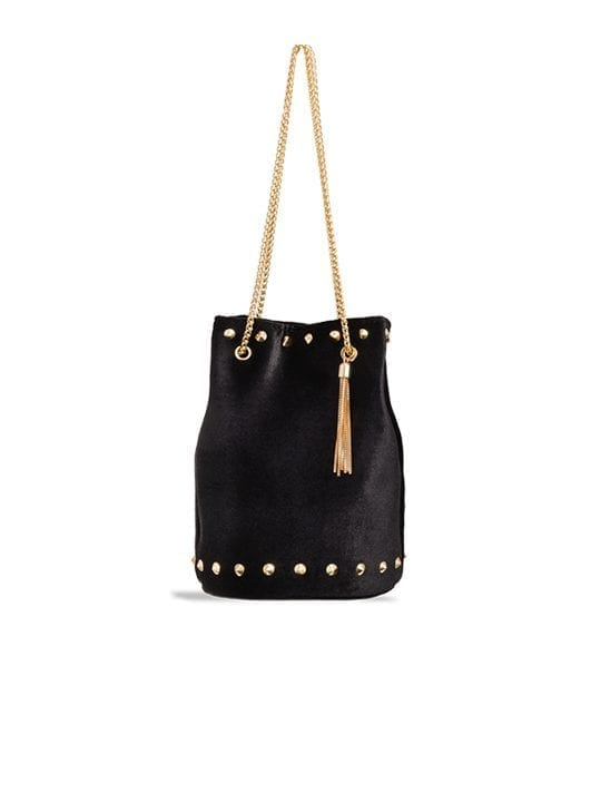 Black Studded Velvet Bucket Bag