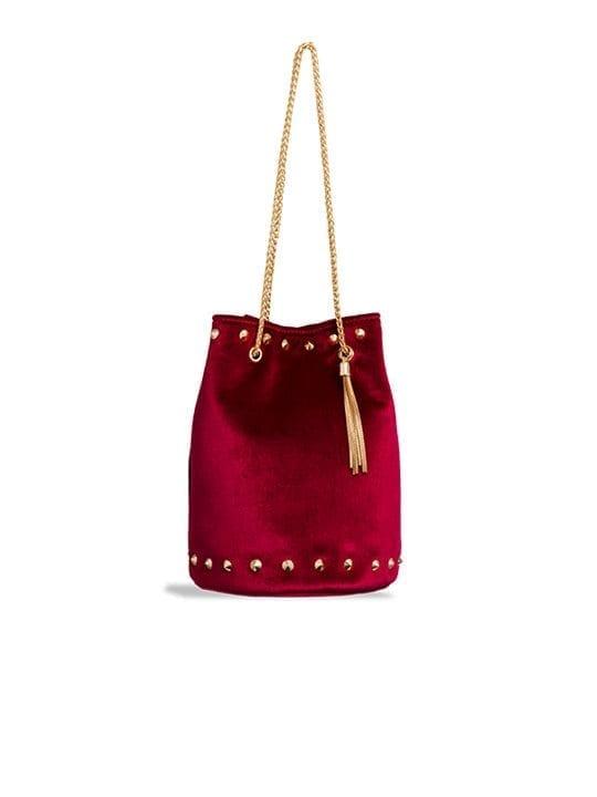 Red Studded Velvet Bucket Bag