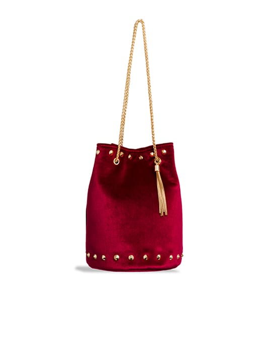 Red Studded Velvet Bucket Bag