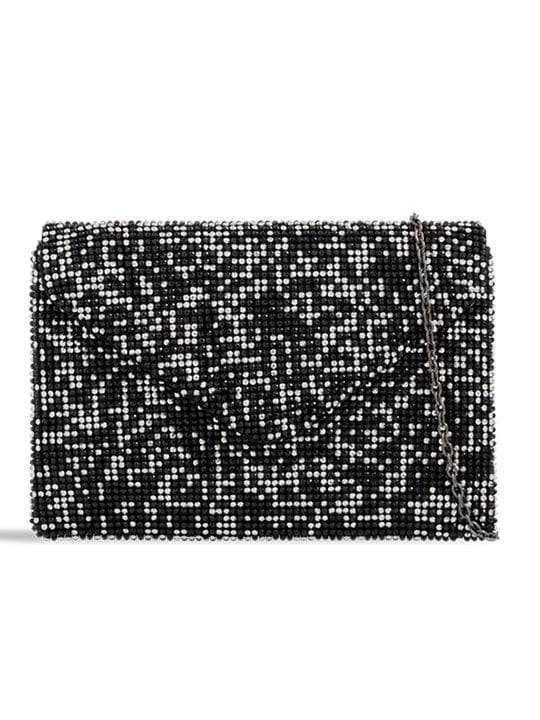 Black Diamante Envelope Clutch