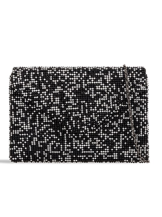 Black Diamante Envelope Clutch
