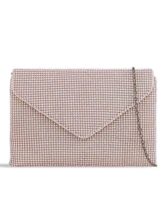 Pink Diamante Envelope Clutch
