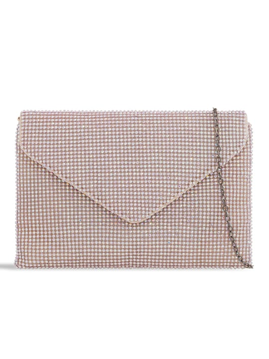 Pink Diamante Envelope Clutch