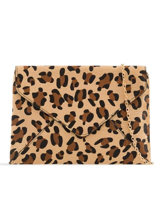 Faux Leopard Print Clutch Bag