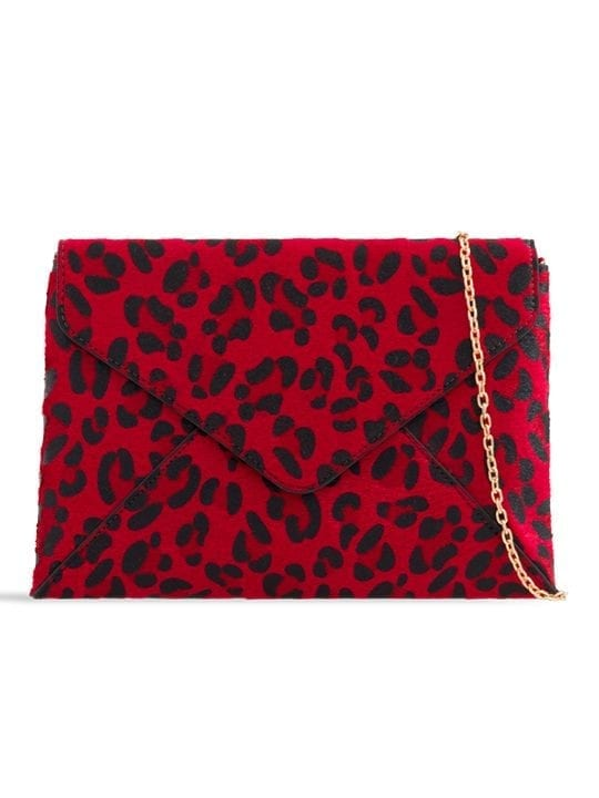 Red Faux Leopard Pony Clutch Bag