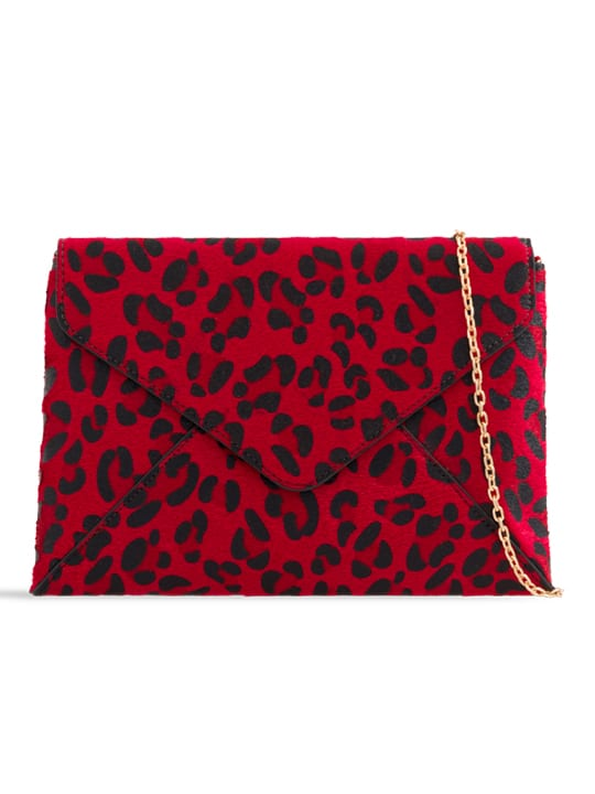 Red Faux Leopard Pony Clutch Bag