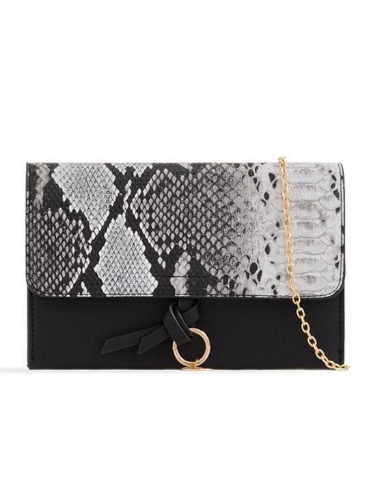 Black Faux Snakeskin Foldover Clutch Bag
