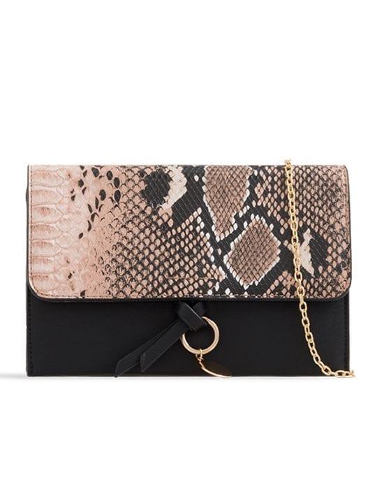 Khaki Faux Snakeskin Foldover Clutch Bag