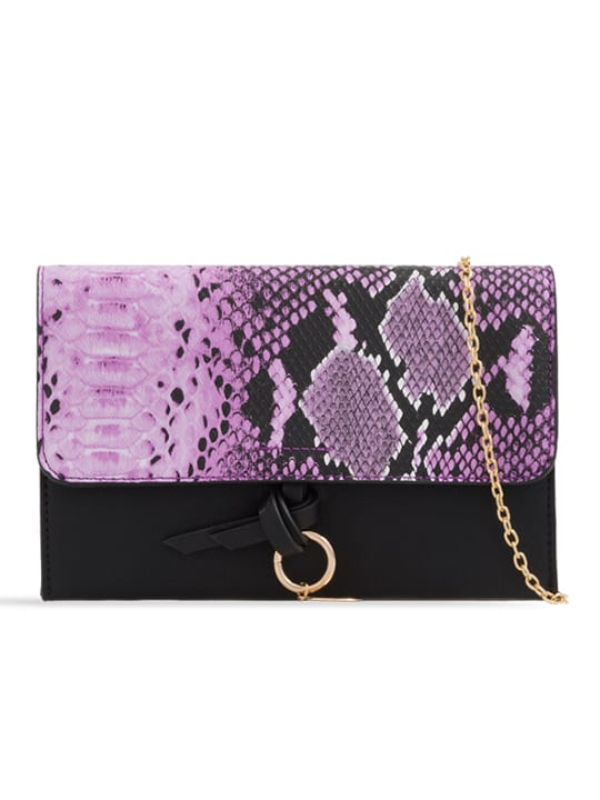 Purple Faux Snakeskin Foldover Clutch Bag