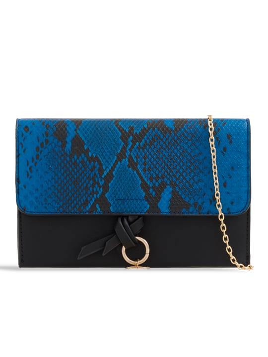 Royal Blue Faux Snakeskin Foldover Clutch Bag