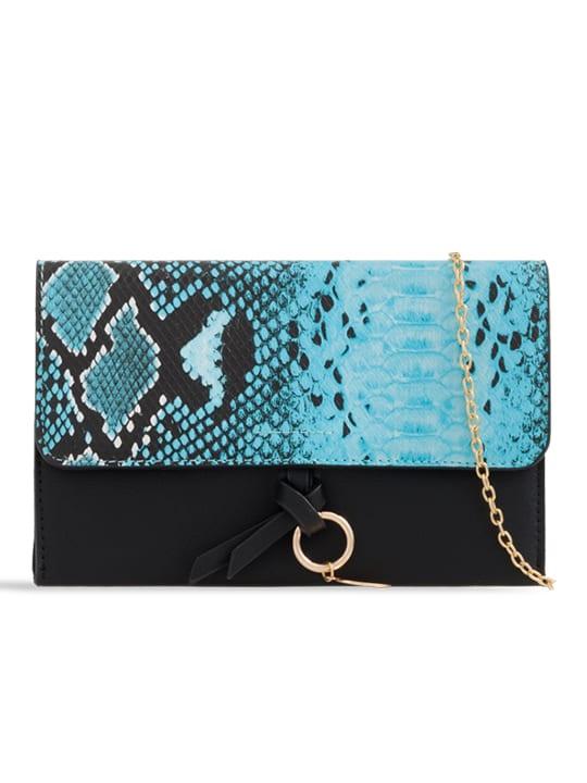 Serenity Faux Snakeskin Foldover Clutch Bag