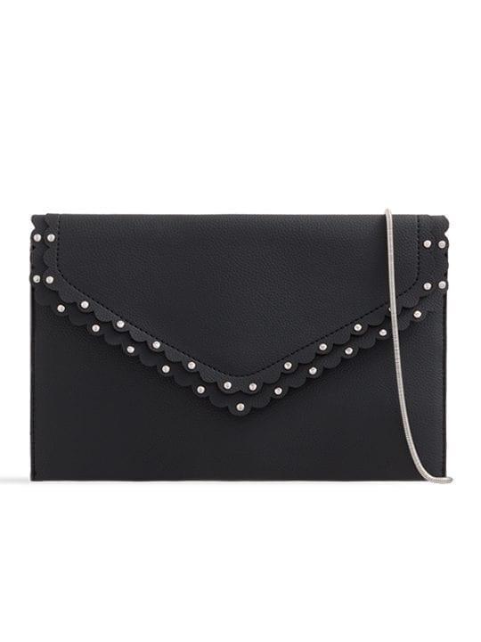 Black Scalloped Faux Leather Envelope Bag