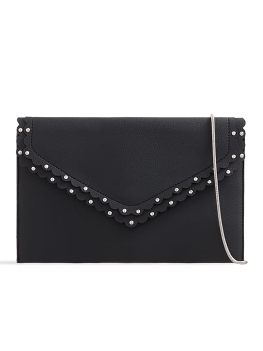 Black Scalloped Faux Leather Envelope Bag