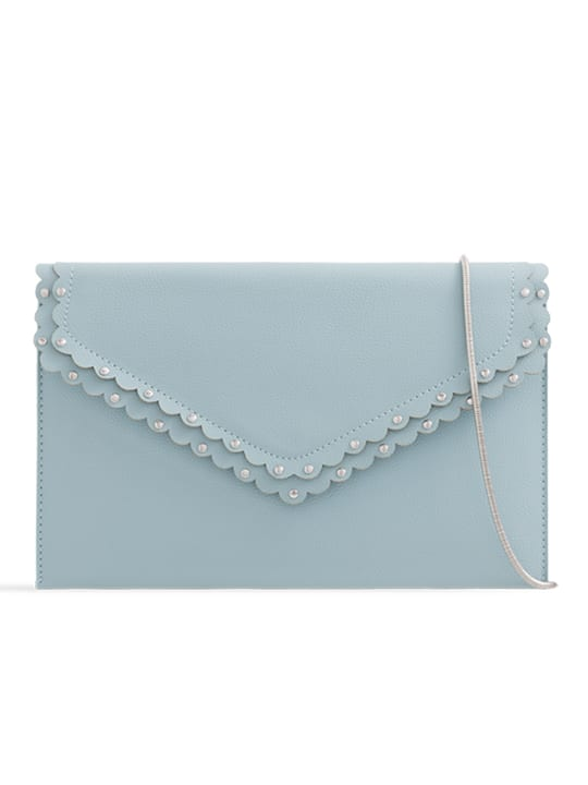 Serenity Scalloped Faux Leather Envelope Bag