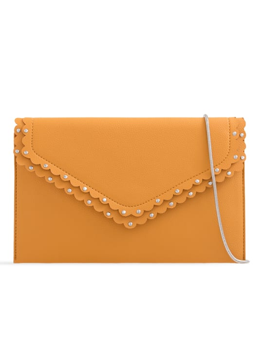 Yellow Scalloped Faux Leather Envelope Bag
