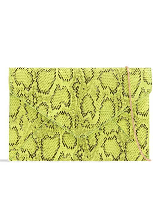 Neon Faux Snakeskin Envelope Clutch Bag