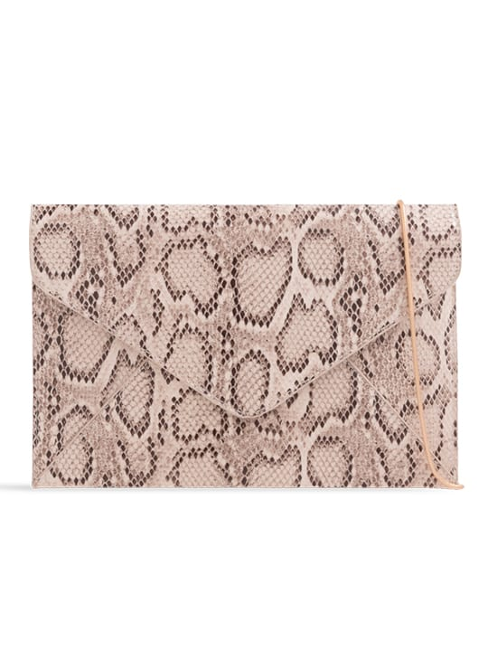 nude faux snakeskin envelope clutch bag