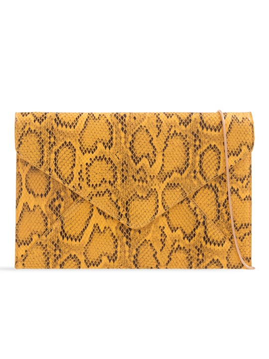Yellow Faux Snakeskin Envelope Clutch Bag
