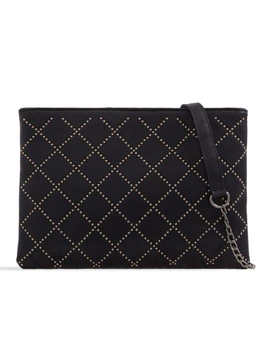 black studded zipper bag