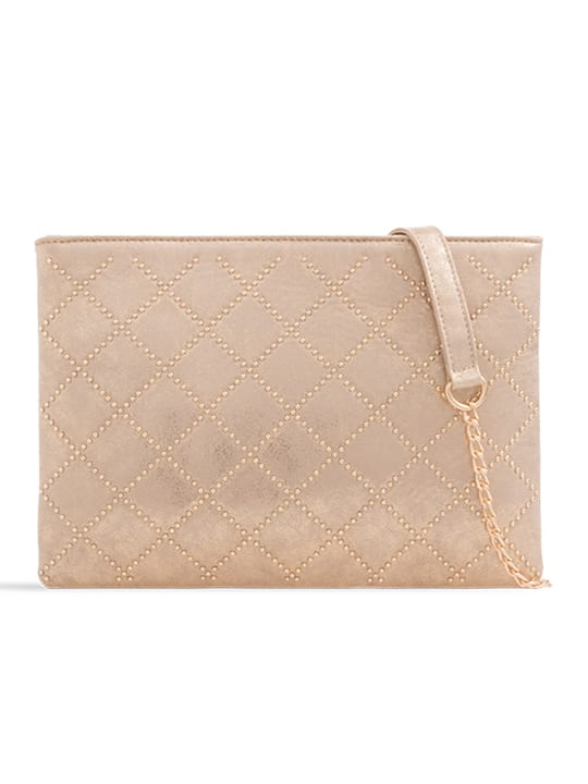 Gold Studded Zipper Bag