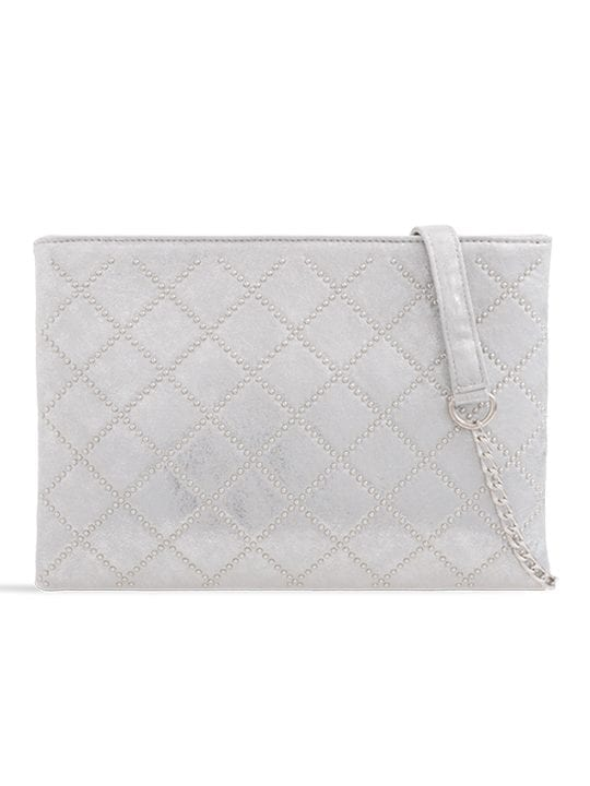 Silver Studded Zipper Bag