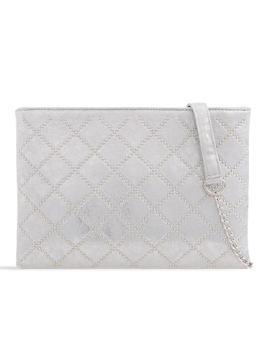Silver Studded Zipper Bag