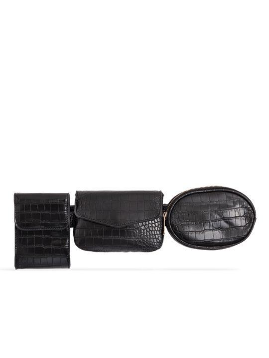 Black 3in1 Faux Snakeskin Bum Bag
