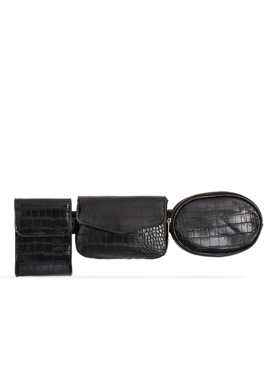 Black 3in1 Faux Snakeskin Bum Bag