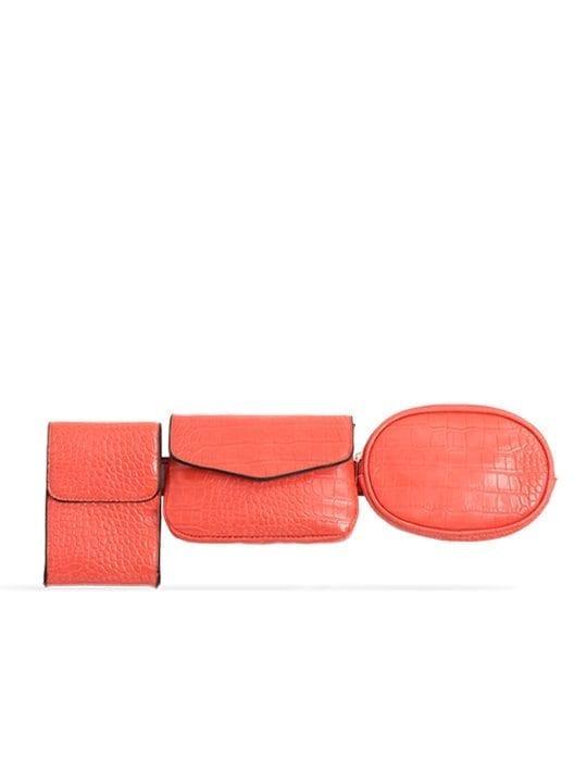 Orange 3in1 Faux Snakeskin Bum Bag