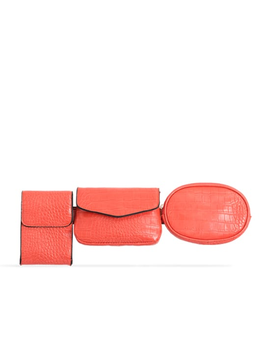 Orange 3in1 Faux Snakeskin Bum Bag
