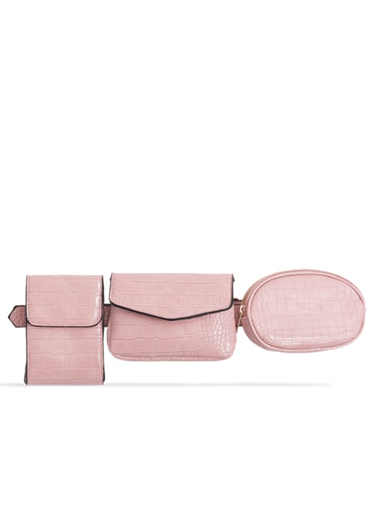 Pink 3in1 Faux Snakeskin Bum Bag