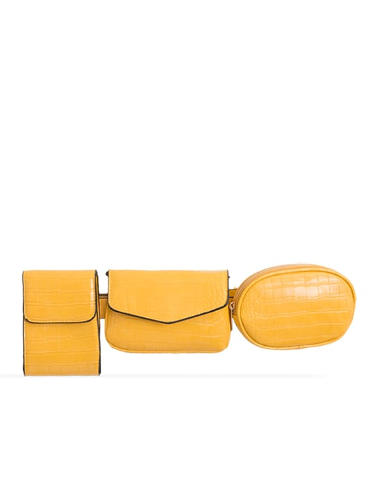 Yellow 3in1 Faux Snakeskin Bum Bag