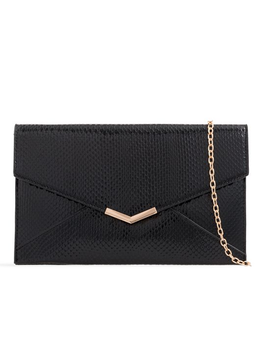 Black Shiny Faux Snakeskin Clutch Bag