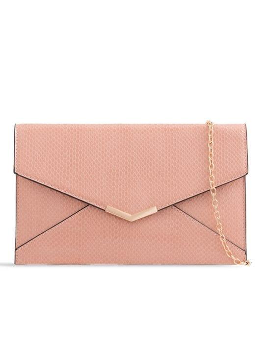 Pink Shiny Faux Snakeskin Clutch Bag