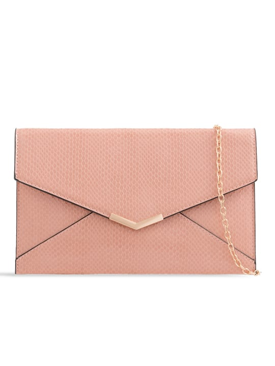 Pink Shiny Faux Snakeskin Clutch Bag