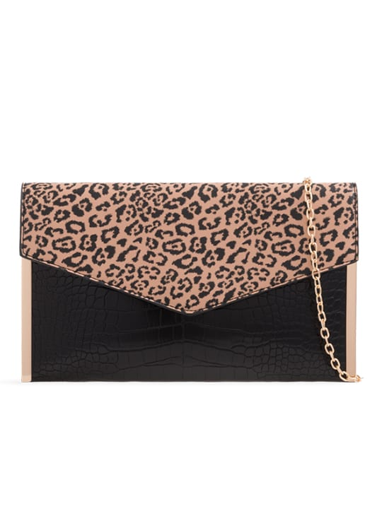 Faux Leather Leopard Print Clutch