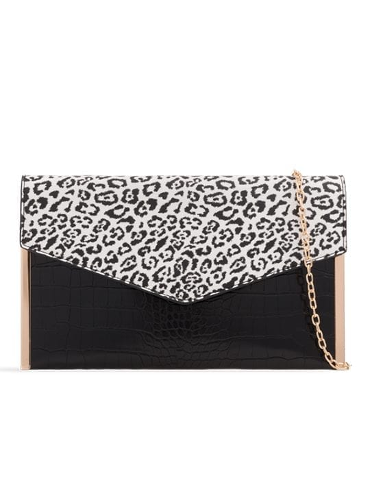 White and Black Faux Leather Leopard Print Clutch