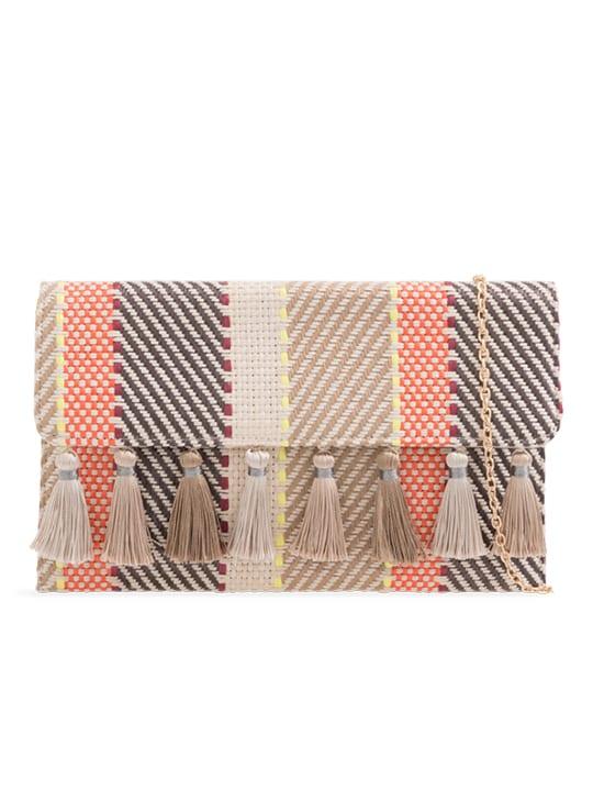Beige Woven Tassel Foldover Clutch